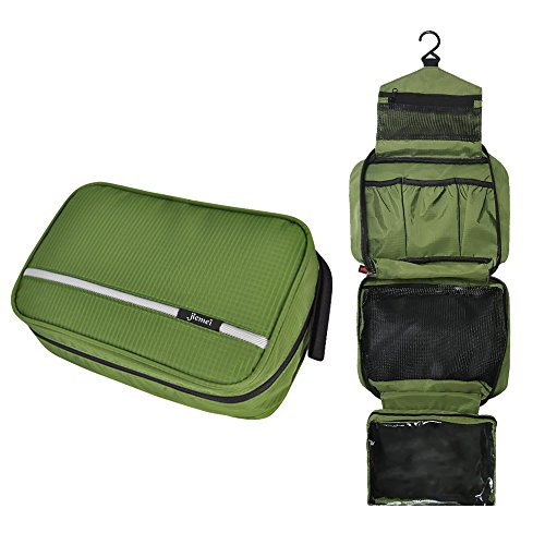 Hanging Toiletry Bag Waterproof, Jiemei Travel Wash Bag for Men & Women with 4 Compartments, Foldable Compact Size, High Quality Zipper, 2 Pack Portable Coat Hangers as Gift (Green)