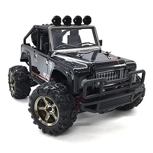 RC Auto, KELIWOW 1:22 4WD RC Jeep 40km / h Hochgeschwindigkeits-Geländewagen 2.4GHz 50 Meter Fernbedienung Elektro Buggy mit unabhängiger Aufhängung und LED-Leuchten (Tapfer - Scale Rc 1 Auto 15