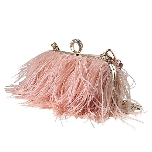 keland Borsa a tracolla con pochette in vera pelle di struzzo naturale (rosa)