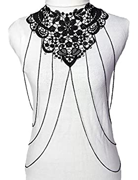 lureme® Sexy Women's Schwarz Spitze Hollow Blume Bikini Body Kette Schmuck Halskette (01004088)