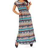 Damen Maxikleid Carmen Ausschnitt Kleid Lang, Farbe:Türkisblau;Größe: XL/XXL