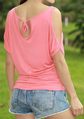 Frauen T-Shirts Blusen Oberteile Tops Fledermausärmel U Ausschnitt  Rückenfrei Trägerlos Irregular Locker Einfarbig Pink ...