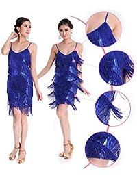 Danza Vestido CoastaCloud Mujer Concurso De Danza Vestido Tassle Latín Moderno Discoteca Azul