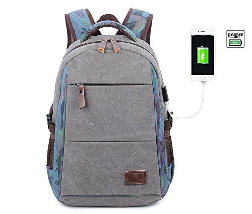 Baisde Zaini per Studenti da Uomo Borse da Viaggio in Tela Resistenti e Casual Zaino da Escursionismo da Viaggio con Interfaccia USB , grey