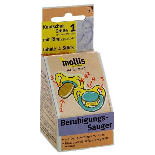 Mollis Kautschuk-Schnuller Gr. 1 mit Ring (2 x 2 Stk)