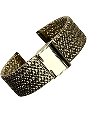 Geckota® Edelstahl Vintage Maschen Uhrenarmband Gold 18mm