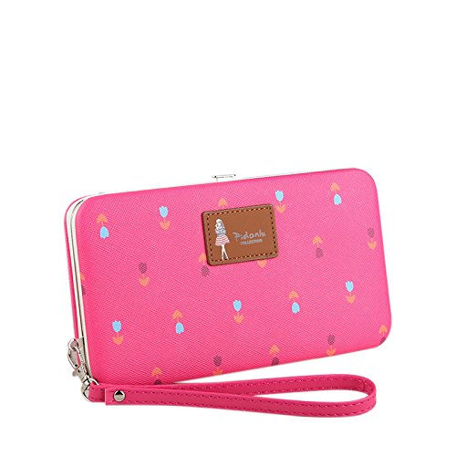 Starz Universal Wallet Case Luxury PU Leather Pouch Purse Cover for Cell Mobile Phone Dark Pink