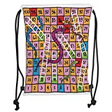 Icndpshorts Custom Printed Drawstring Backpacks Bags,Board Game,Snakes with Ornate Details White Ladders Hand Drawn Squares Numbers Luck Move, Soft Satin,5 Liter Capacity,Adjustable String Closure,