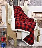 Catalonia, plaid in tartan con fodera tessuto Sherpa per divano letto, coperta reversibile in pile foderato in pelliccetta sintetica, regalo tenero e ultra morbido, 152cm x 127cm, Microfibra, Red, 152 cm x 127 cm