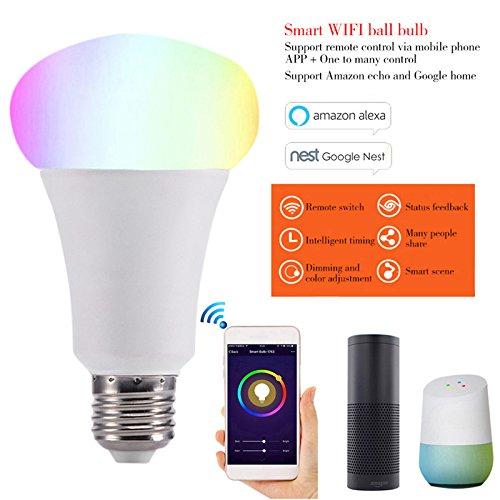 rokoo LED Smart Leuchtmittel Telefon App WiFi Steuerung Farbe Ersatzbirnen für Google, Home Amazon Alexa, E27