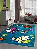 Carpetia Kinderteppich Spielteppich Kinderzimmer Teppich Fische Aquarium türkis Größe 120x170 cm