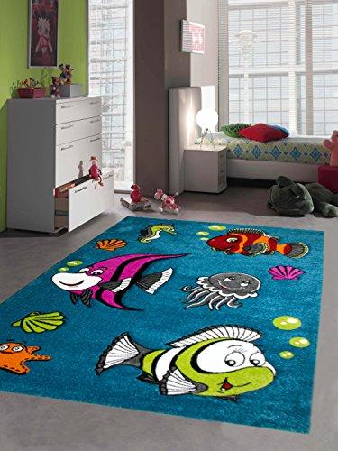 Alfombra de los niños alfombra de juegos peces turquesa Größe 80x150 cm