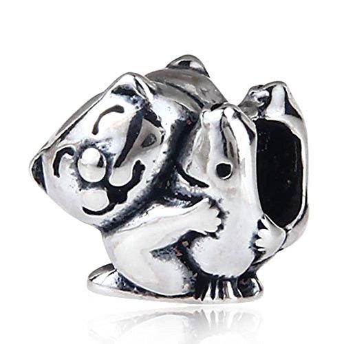 Soulbead Cat Hug pesce fascino antico 925sterling Silver Animal Bead per braccialetti (Cat Antico Fascino)