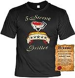 Grill T-Shirt 5 Sterne Griller Fun Shirt 4 Heroes Geburtstag Geschenk Geil Bedruckt mit Grillmeister Urkunde