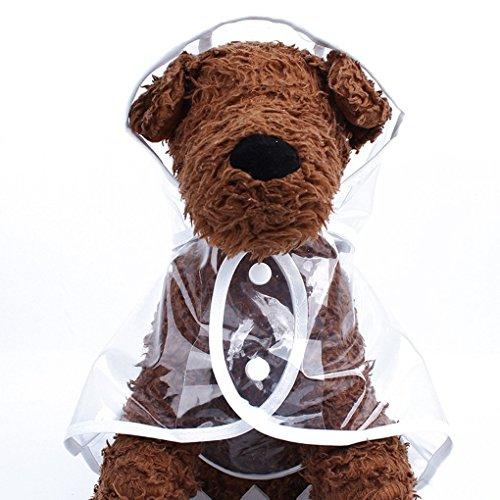 GCSEY Cute Pet Apparel Dog Regenmantel wasserdichte Puppy Rainwear Coat Transparente Regenbekleidung Kleidung für kleine/große Hunde,White,S
