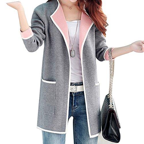 Minetom Damen Strickjacke Cardigan Langarmshirt Patchwork Pullover Mantel Outwear Tops Strickmantel Strick Loose Strickjacke Kimono Grau DE 44 (Printed Kimono Knit)