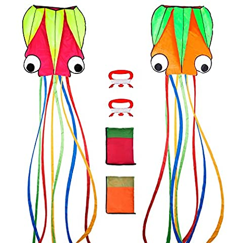 Outus 2 Pieces Large Octopus Kites Portable Colorful Beautiful Long