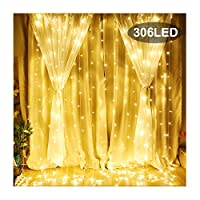 KNONEW LED Window Curtain Icicle Lights, 306 LEDs, 9.8ft x 9.8ft, 8 Modes, String Fairy Light, LED String Light for Wedding Party /Christmas/Halloween/Party Backdrops UK only + Cable Ties (Warm White)