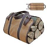 Aolvo Brennholz-Tasche, groß, strapazierfähig aus Oxford-Gewebe Brennholz-Tasche mit Halterung und faltbare dust-proof campwood Tasche für Camping, Outdoor und camfire Holz-Ofen Carrie, Khaki 36.4 x 16.2 ''