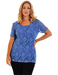 0721ffb1d8efc Nouvelle Collection New Womens Top Ladies Plus Size Lace Lined Floral Short  Sleeves Party