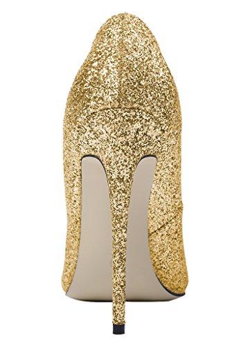 Guoar Damen Große Größe Brautschuhe Spitze Zehen Bling Rutsch Stiletto Pumps Abendschuhe Ballsaal Party Hochzeit Gold