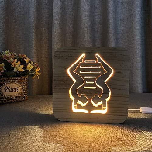 3D Veilleuse lampe Lampe en bois à modeler Yoga en bois massif Lampe de nuit Led3D