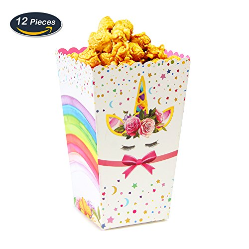 AMZTM Suministros de Fiesta de Unicornio Arcoiris Caja de Palomitas de Maíz Caramelo Caja de Papel de Comida Bocadillo para Cumpleaños Baby Shower 12 Piezas (Rainbow)