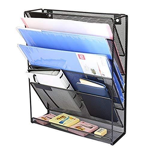 YSYDE Hängende Wand Office Organizer, 5 Tier Hängende Wand Mesh Metall Funktionale Wandhalterung Dokument, für Home Office Zeitungsständer, Mesh Desktop File Storage - 5 Tier-mesh