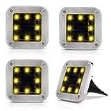 4er Solar Bodenleuchten Aussen, 8 LEDs Lampenperlen Solar Leuchte IP65 Wasserdicht Garten Landschaft Beleuchtung Edelstahl Außenleuchte Solar Path Lights für Yard Auffahrt Rasen - Warmweiße