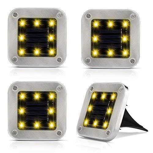 4er Solar Bodenleuchten Aussen, Nasharia 8 LEDs Lampenperlen Solar Leuchte IP65 Wasserdicht Garten Landschaft Beleuchtung Edelstahl Außenleuchte Solar Path Lights für Yard Auffahrt Rasen - Warmweiße
