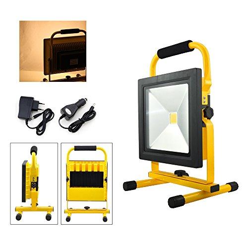 VINGO® 50W Akku LED Fluter Baustrahler Wasserdicht Warmweiß Tragbare Camping Lampe IP65 ,4800mah Batterie-Kapazität,Gelb -