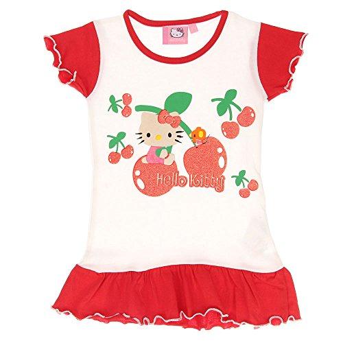 Baby-Mädchen T-Shirt, Hallo Kitty Baby-Mädchen T-Shirt Rundhals Kurzarm, Rot Weiß, in Größe 86/92 (Mädchen Hallo Für Kitty)