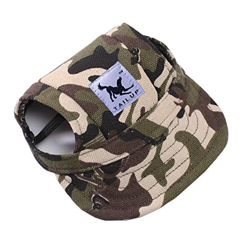 Outdoor Doggie Cat Leisure Sunblock Protection Hat Visor Summer Puppy Dog Casual Sports Oxford Fabric Canvas Outfit with Ear Holes and Adjustable Neck String MansWill Small Pet Baseball Cap