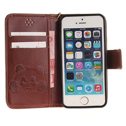 iPhone 5S Hülle,iPhone SE Tasche Case,iPhone 5 Cover - Felfy Bookstyle Ledertasche Luxus Premium Flip Folio PU Leder Taschen Schöne Panda Kreative übersichtliches Design Geprägte Fantasie Fliegen Fall Panda Braun