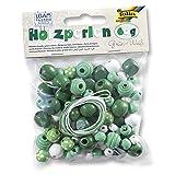 Folia NEU Holzperlen Mix mit Bändern, grün/weiß, 60 g