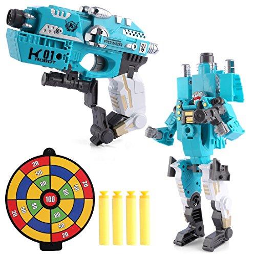 Lommer Deformation Verwandelbar Roboter-Spielzeugwaffen airsoft Spielzeugpistole Roboter Soft Air Blaster für Kinder für Nerf Weiche Kugeln Blaster-Spiele, Zielspiele (Hellblau)