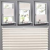 SHINY HOME® Jalousien Plissee mit Gardinenstange Klemmträger Vorhang Single Elegant Sonnenschutzrollo für Fenster Tür ohne Bohren Fensterrollo Gardinen Beige 80x130cm