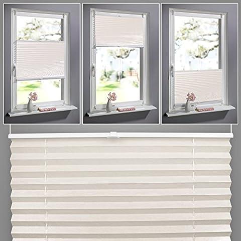 SHINY HOME 100 x 130 cm Easyfix Plissee für Fenster, Klemmfix ohne Bohren - Beige