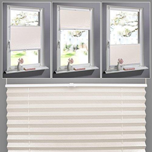 SHINY HOME® 100 x 130cm Easyfix Faltrollo Jalousien Plissee mit Klemmträger ohne Bohren Blickdicht Vorhang Sonnenschutzrollo Fensterrollo Gardinen - Beige