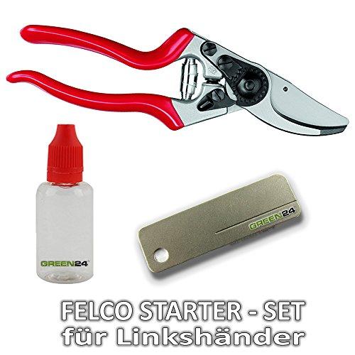 FELCO STARTER-SET für Linkshänder GREEN24 - Felco-Schere Nr. 9, Pflege-Öl und Schleif-Stein für den sofortigen Start
