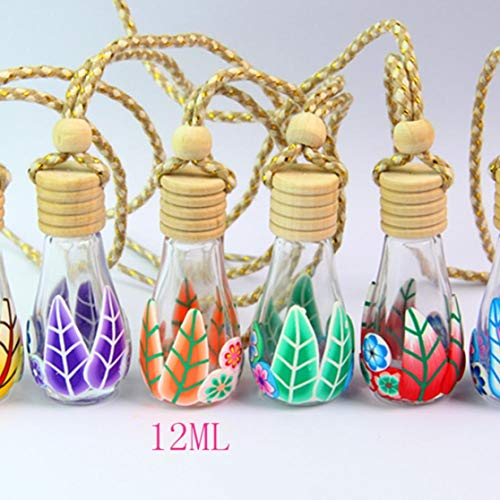 Houeglass Extraordinary 12-15ML Home Car Hanging Air Freshener Perfume Hanging Glass Clear Empty Bottle(None Bowling Half Pack Bottle Color r)
