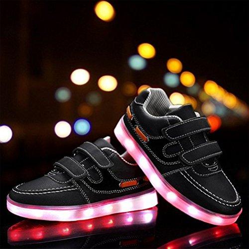 [Présents:petite serviette]JUNGLEST® Kid Garçon Fille de recharge USB LED Light Up Sport Chaussures de course Clignotant Snea Noir