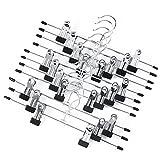 Tebery 20 Stück Anti-Rutsch Hosenbügel Metall Kleiderbügel Rockbügel 30,5(H) x 12,6(B) cmverchromt