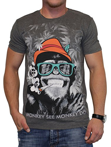 40by1, Herren T-Shirt, Smoking Monkey, anthra melange, 40/1-12-008, GR L