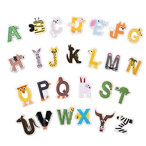 Zhiheng Eisen auf Patches Buchstaben 26A-Z Alphabet Patches Tierdesign DIY Motiv Eisen auf Oder Sew on Patches Applikationen für Jeans Jacken Rucksäcke 4 cm Stil - Alphabet Kostüme Ideen