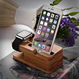 Apple Watch Stand, ISELECTOR Bamboo Charging Stand Charger Dock Station Cradle Holder for Apple Watch and iPhone 6s Plus / 6s / 6 Plus / 6 / 5s / 5c / 5 Bild 2