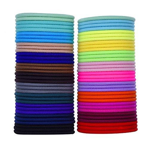 69 Pieces 3mm Multicolor Elastic Hair Bands Hair Tie No Metal Gentle Elastics
