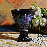 Kiteshaser Tazza in Ceramica Nera Retro Tazza in Ceramica Coppa Gelato Coppa Rosa Calice Collezione Home Office 280ML + -