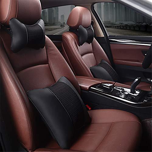Dfghbn facilità di viaggio auto supporto lombare indietro cuscino e poggiatesta cuscino collo kit per cuscino sedile design ergonomico universale adatto per seggiolino auto (colore : nero)