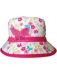 Child's Girl's Floral Butterfly Design Summer Bush/Bucket/Sun Hat In 2 Sizes